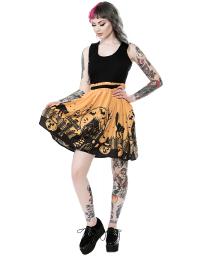 Girl with Sourpuss Haunted House Dress Front