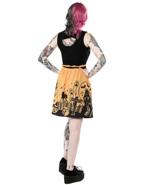 Girl with Sourpuss Haunted House Dress Back
