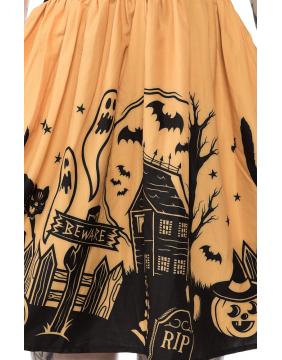 Detalle de impresión en falda vestido Casa Encantada marca Sourpuss