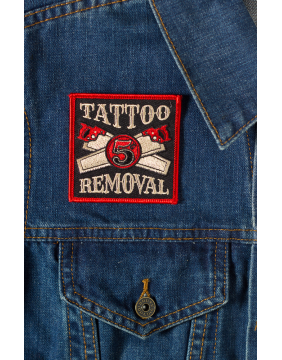 Kustom Kreeps Tattoo Removal Patch on denim