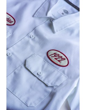 Camisa Rotonda South Dickies blanca detalle parches 2