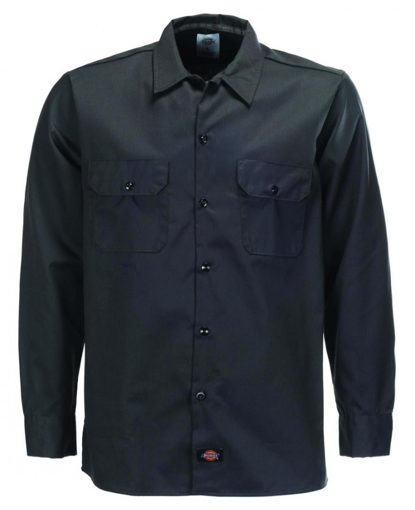 Camisa 576 Slim Fit negra manga larga marca Dickies para hombre frontal