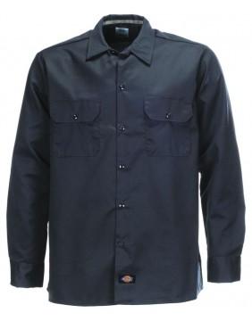 Dickies 576 Work Black Long Sleeve Shirt Slim Fit Front