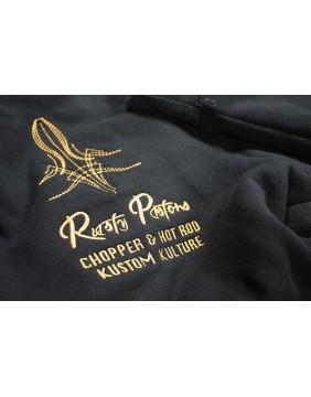 Sudadera negra Waverly Rusty Pistons bordada detalle espalda