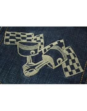 Rusty Pistons Winslow Race Jeans for men pistons detail
