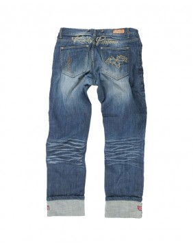 Rusty Pistons Seymour embroidered biker Jeans for men back