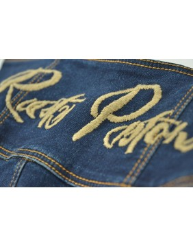 Rusty Pistons Bethany Capri Jeans for women embroidery detail
