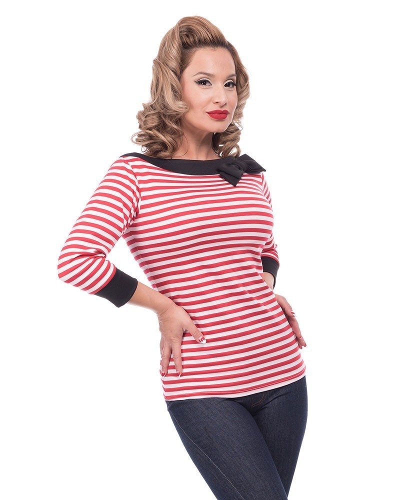 Steady Striped Boatneck Top Front
