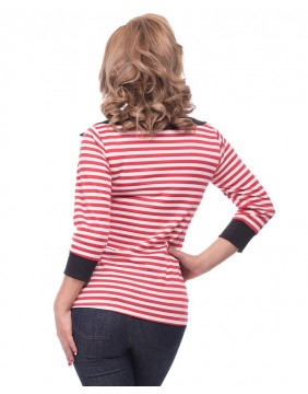 Steady Striped Boatneck Top back