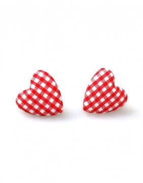 Collectif Small Ginham Heart Studs Earrings