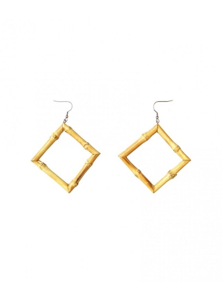 Collectif Tiki Square Bamboo Earrings