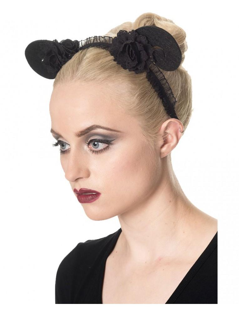 Headband with horns black