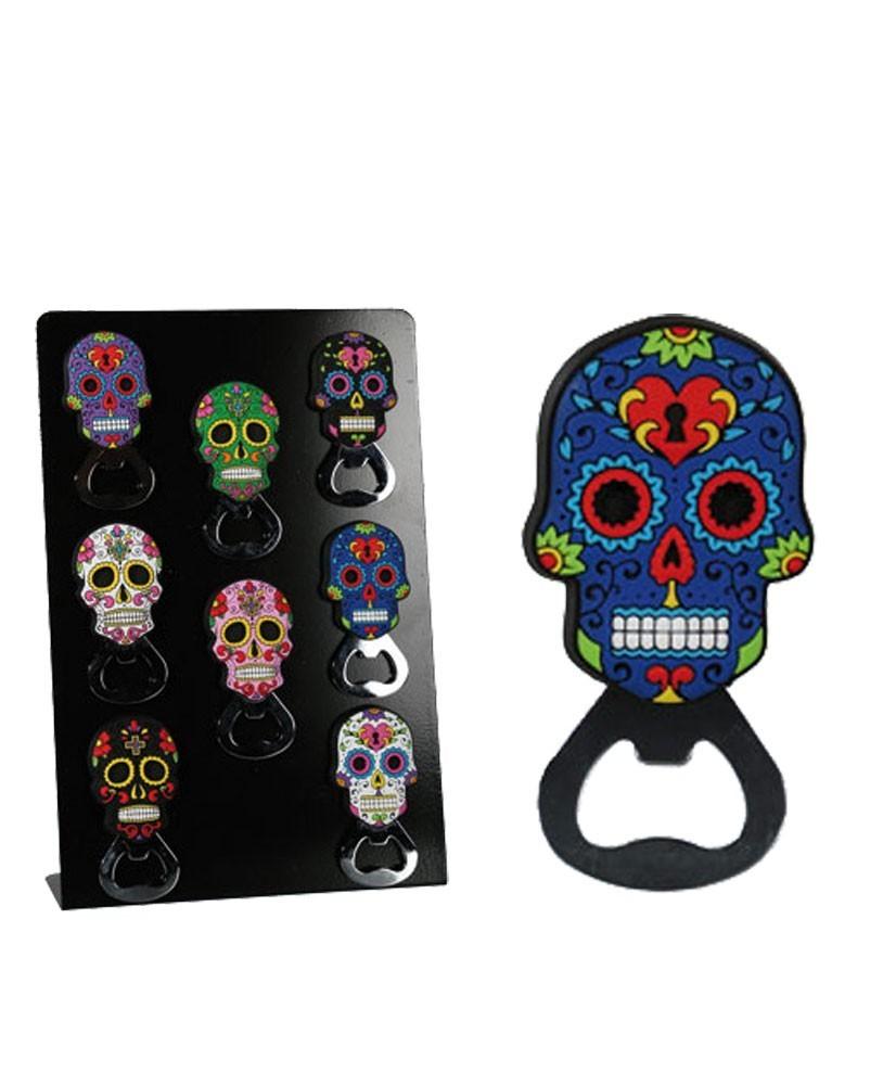 Mexican skull magnet bottle opener blue