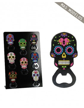 Mexican skull magnet bottle opener black and pink