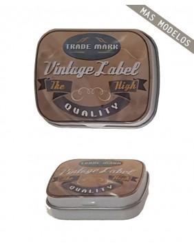 vintage label metal box