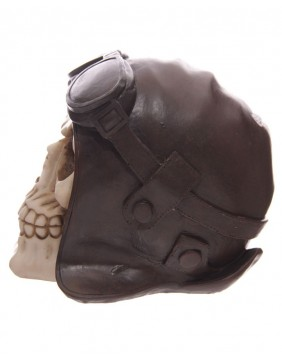 Biker skull piggy bank side