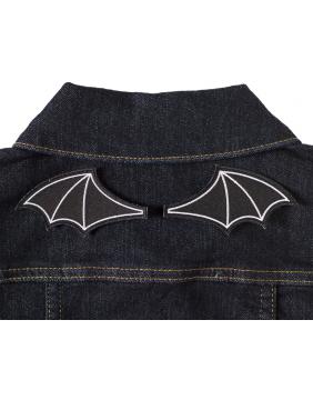 Sourpuss Bat Wings Patch on denim