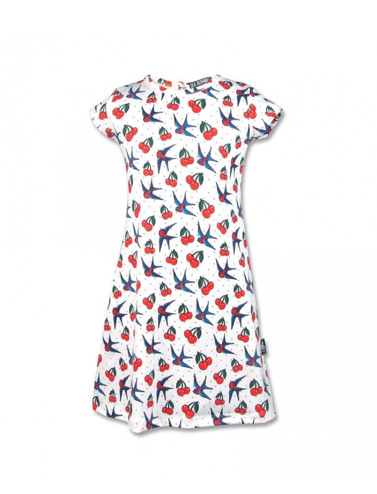 Cherry birds dress for girl by Six Bunnies main