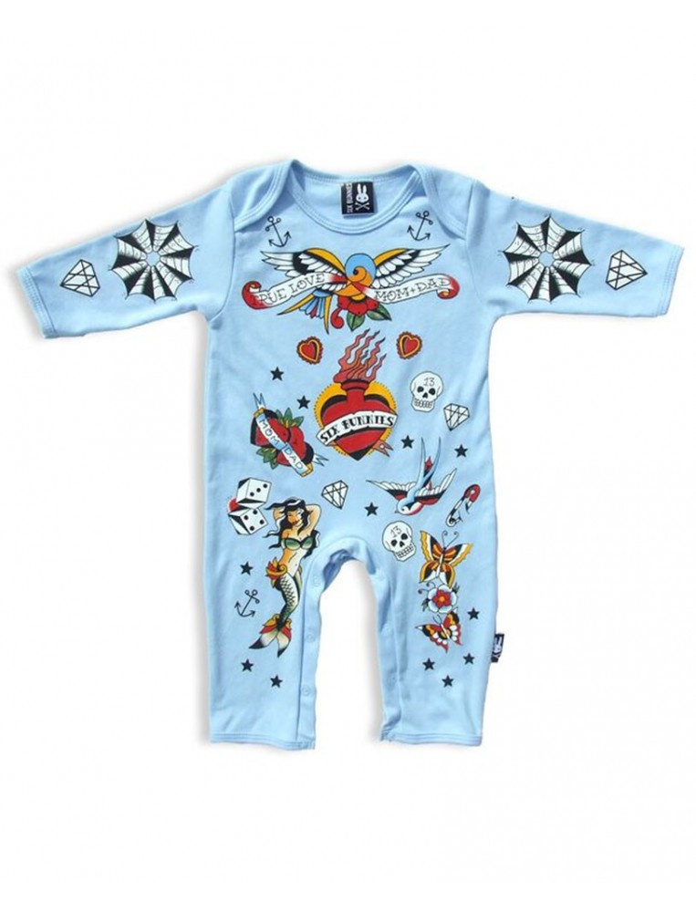 Bodysuit for baby Six Bunnies tattoos front