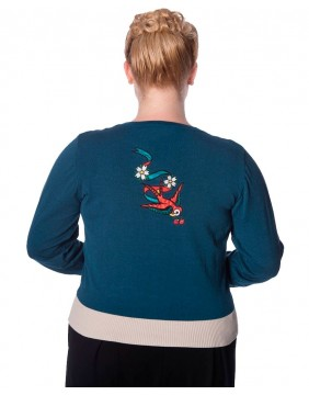 Cardigan with birds label Banned back