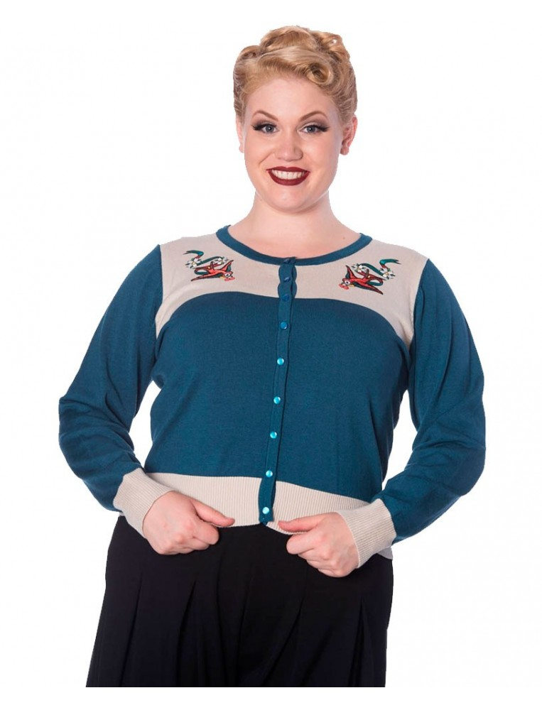 Cardigan with birds label Banned front