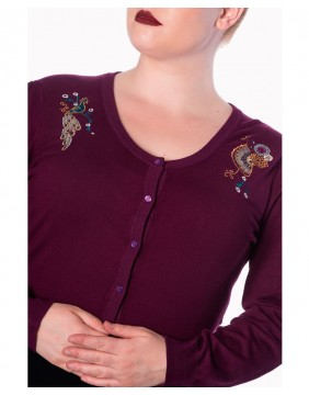 Purple cardigan with peacocks label Banned image