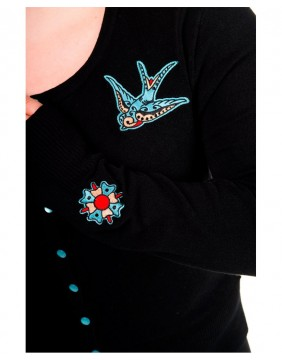 Cardigan with swallows label Banned image
