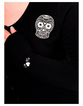 Black cardigan with white skull label Banned image