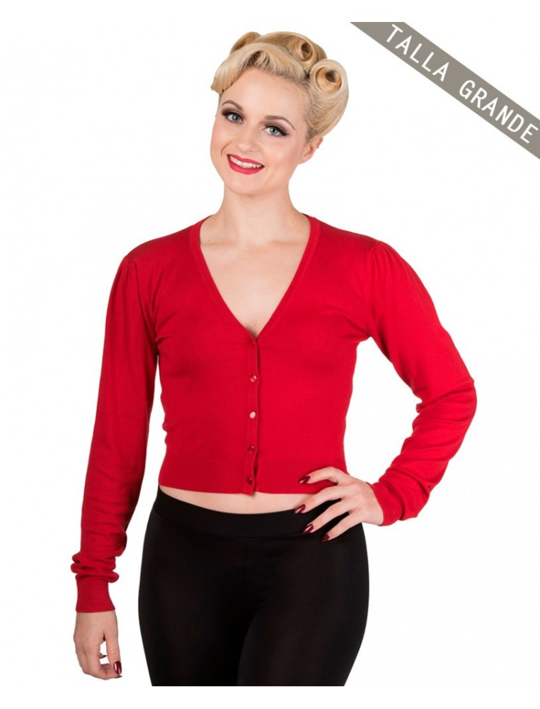 Banned little luxury cropped red cardigan front