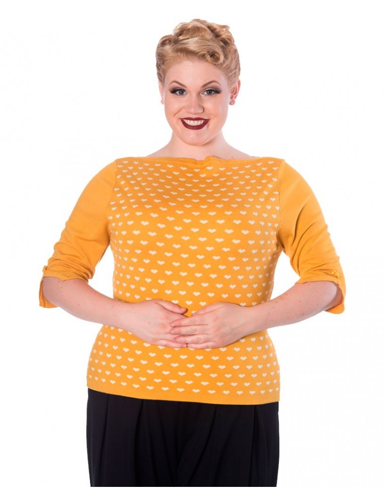 Banned charming yellow heart jumper front