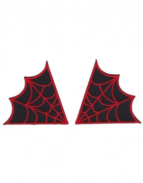 Sourpuss Spiderweb Patches Red