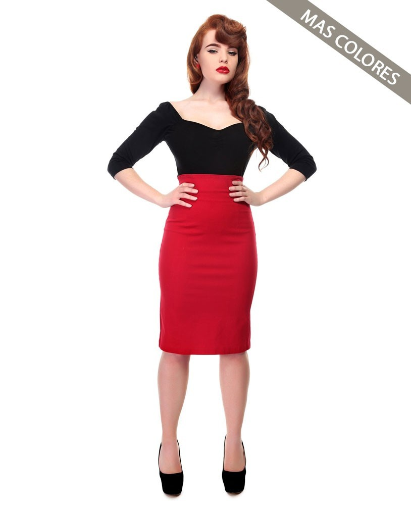 Collectif Fiona Red Skirt Plain