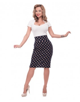 Steady Navey Polka Dot Wiggle Skirt