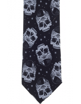 Kustom Kreeps Tattooed Skull Tie Detail