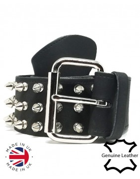 3 Row Spikes Leather Belt