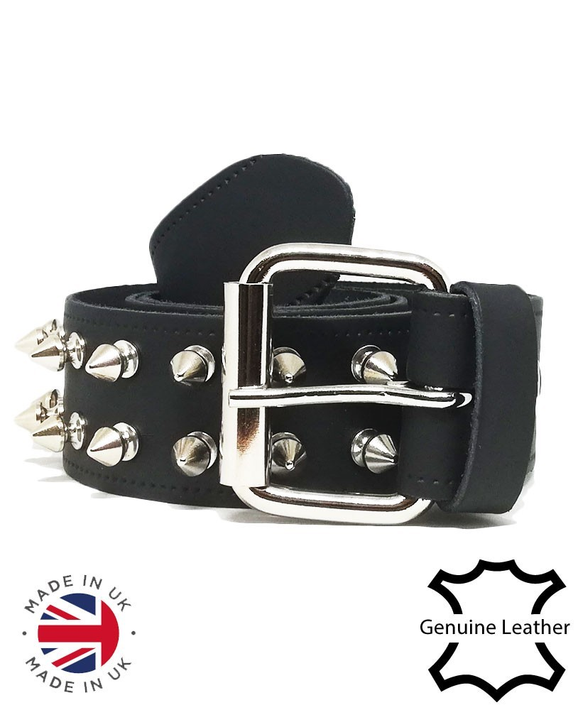 2 Row spikes leather belt main