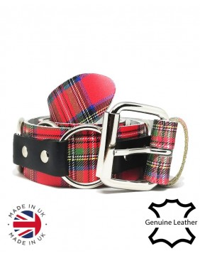 Small ring tartan leather belt main