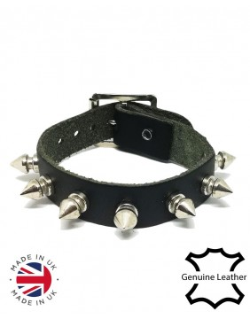 1 row spikes leather wristband