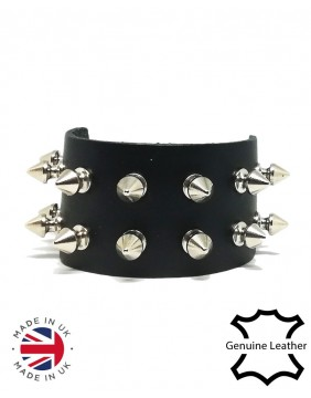 2 row spikes leather wristband