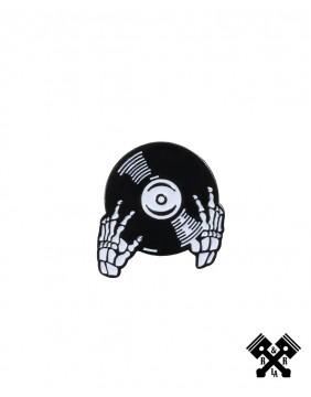 DJ Skeleton Hands Enamel Pin