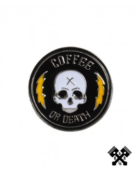 Coffee or Death Skull Enamel Pin