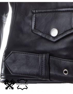 Chaqueta Brando de cuero para mujer detalle cinturon
