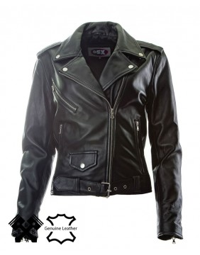 "Brando ""Perfecto"" fit leather Jacket for woman front"