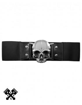 Cinturon Elastico Calavera Negro
