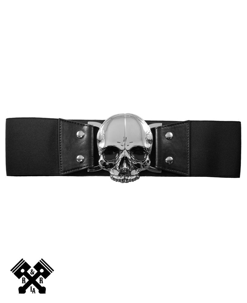 Elastic Waist Belt Skull Black