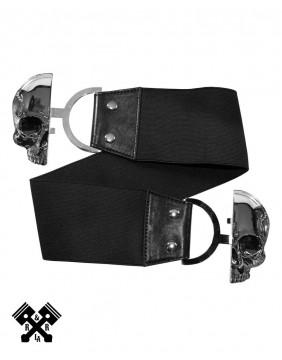 Cinturon Elastico Calavera Negro Detalle