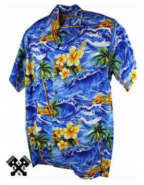 Karmakula Panama Hawaiian Shirt Blue
