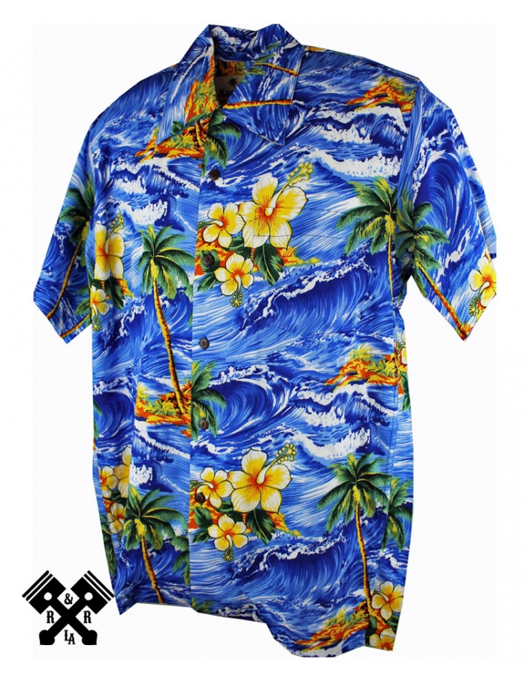 Karmakula Camisa Hawaiana Panama Azul