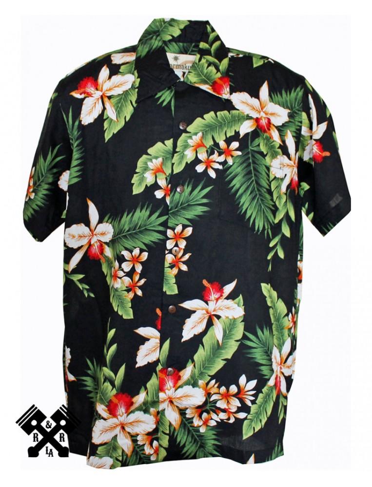 Karmakula Camisa Hawaiana Cayo Black para hombre