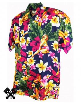 Karmakula Pinup Blue Hawaiian Shirt for woman